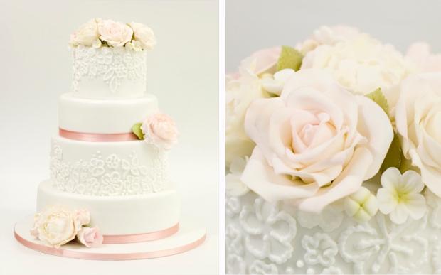 Pastel boda encaje y flores