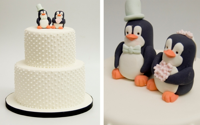 pastel boda pinguinos
